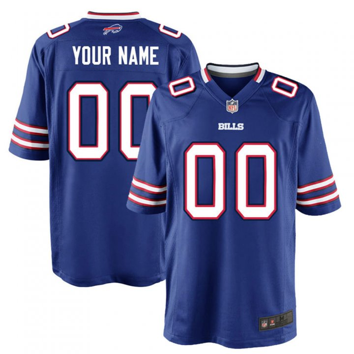 VF Men Youth Kids Buffalo Bills Custom Any Name Number Embroidery Jersey Royal Blue
