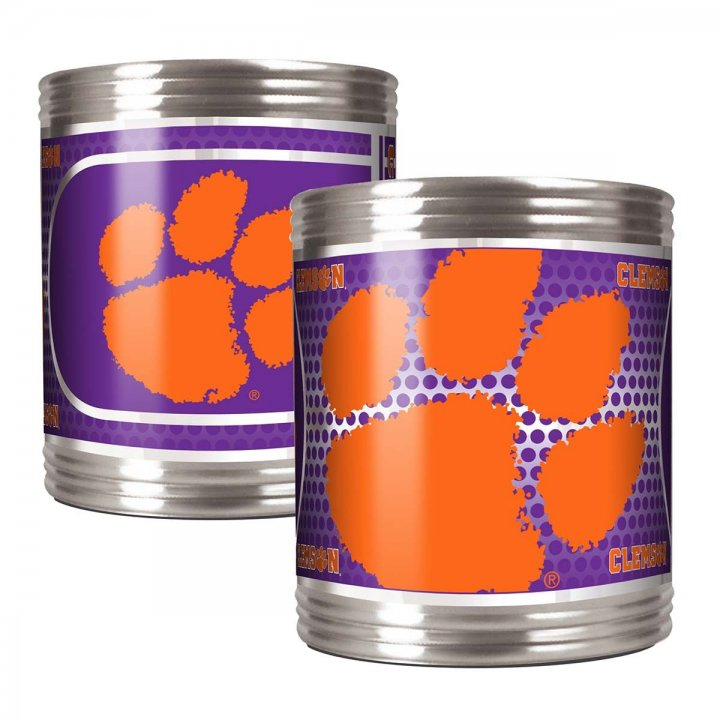 Clemson Tigers Clemson Tigers 2 Piece Stainless Steel Can Holder Set with Metallic Graphics