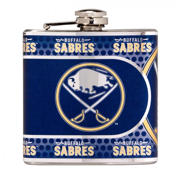 Buffalo Sabres 6 oz Stainless Steel Hip Flask with Metallic Graphics (Silver)