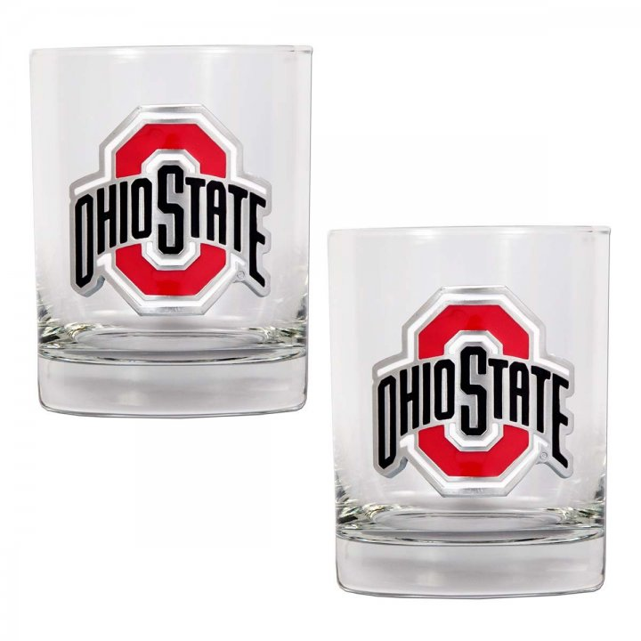 Ohio State Buckeyes NCAA 2Pc Rocks Glass Set (Clear)