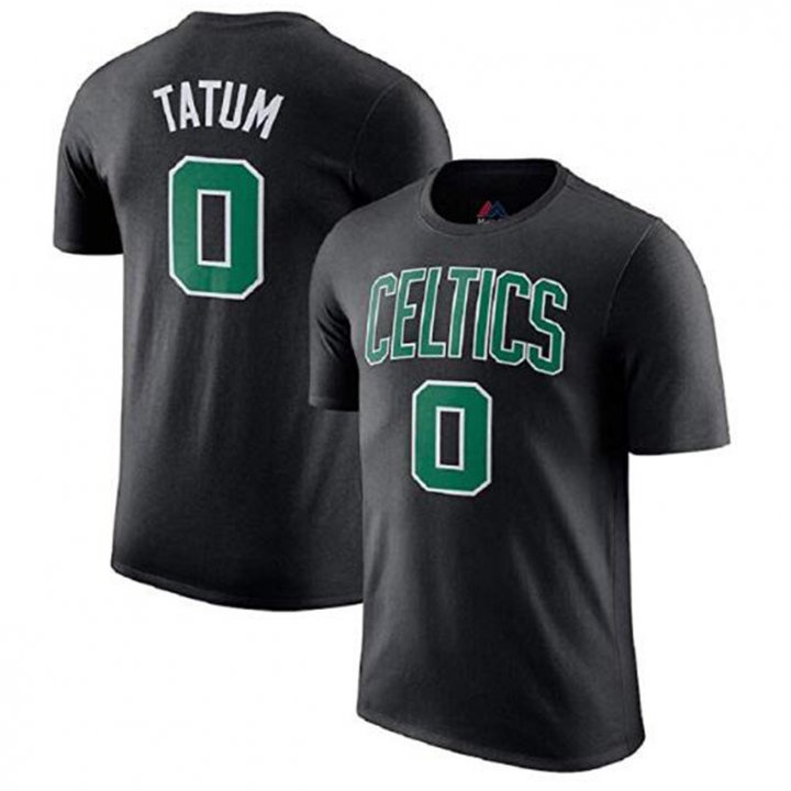 Franklin Sports Jayson Tatum Men's Black #0 Boston Celtics Jersey T-Shirt