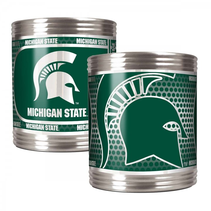 Michigan State Spartans NCAA 2 Piece Stainless Steel Can Holder Set with Metallic Graphics (Silver)