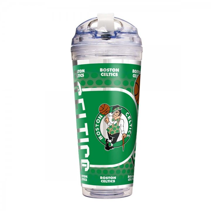 Boston Celtics NBA Boston Celtics 24 oz Double Wall Acrylic Travel Tumbler with Metallic Graphics (Clear)