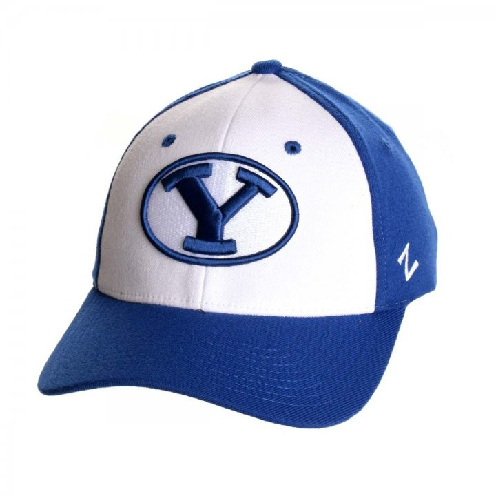 BYU Cougars NCAA Oval Zephyr Stretch Hat (White)