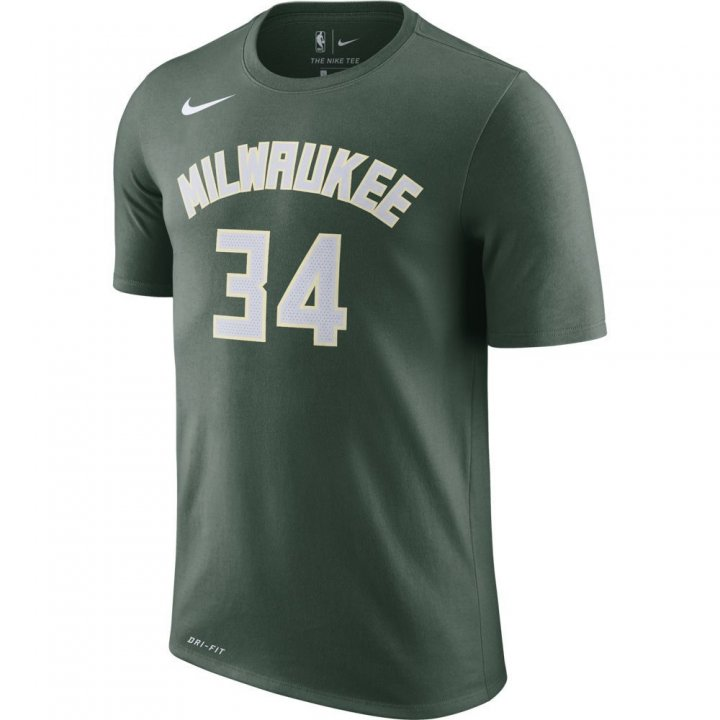 Milwaukee Bucks NBA Giannis Antetokounmpo Shootaround Name & Number Tee (Green)