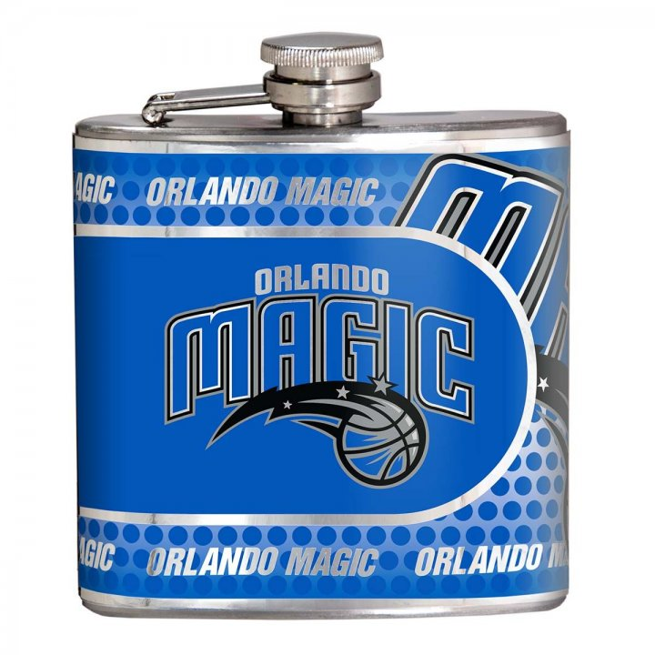 Orlando Magic 6 oz Stainless Steel Hip Flask with Metallic Graphics (Silver)