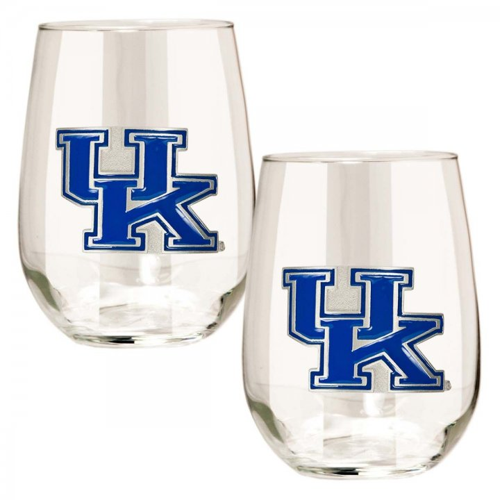 Kentucky Wildcats NCAA 2 Piece Stemless Wine Glass Set (Clear)