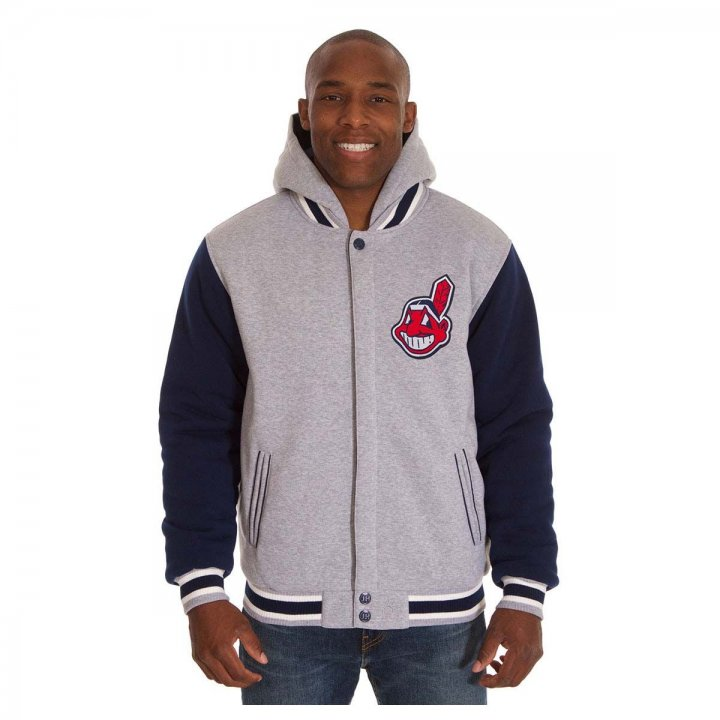 Cleveland Indians Patch Program Reversible Fleece Hooded Button Snap Jacket (Gray)