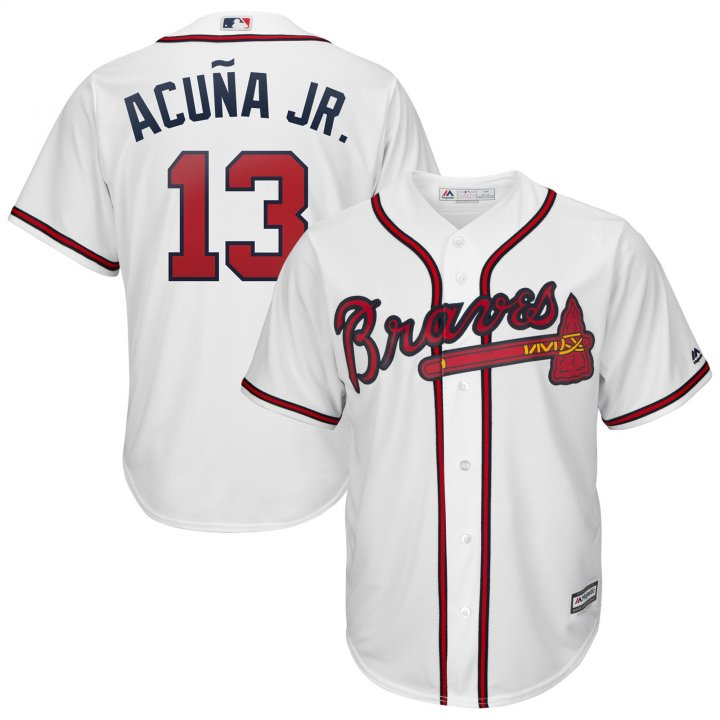 Outerstuff Youth Kids Atlanta Braves 13 Ronald Acuna Jr 2019 Baseball Jersey White