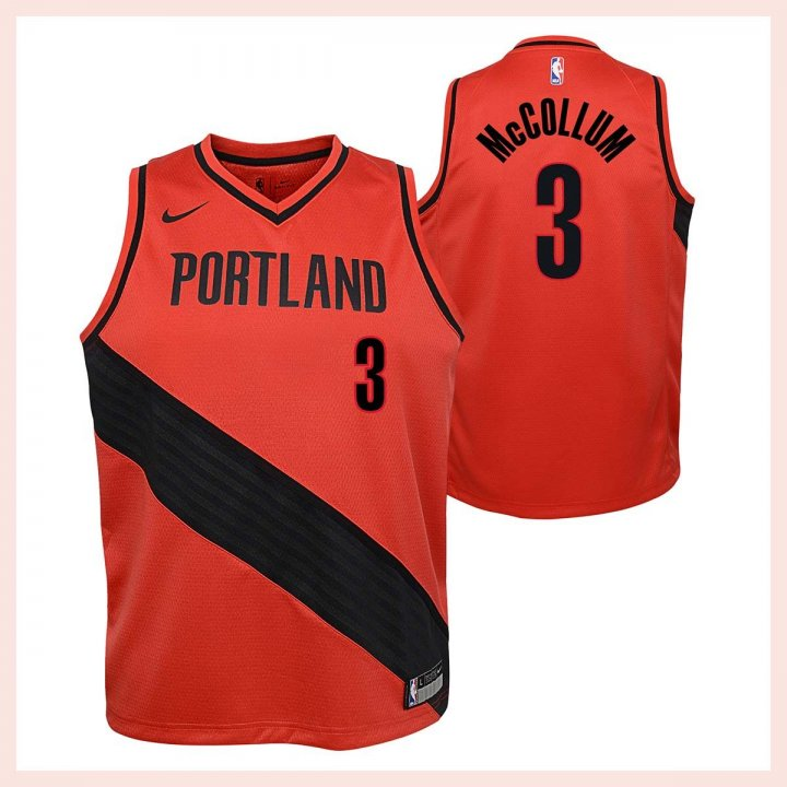 Portland Trail Blazers NBA CJ Mccollum Youth Statement Swingman Jersey (Red)