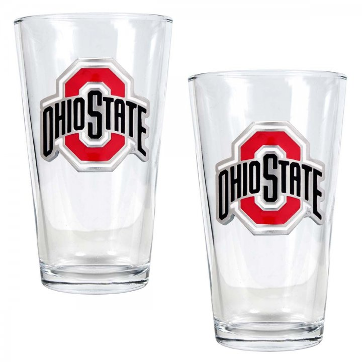 Ohio State Buckeyes NCAA 2Pc Pint Glass Set (Clear)