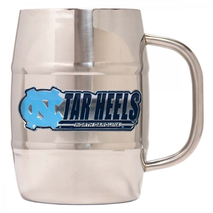 North Carolina Tar Heels NCAA 32 oz Double Wall Stainless Steel Mug (Silver)
