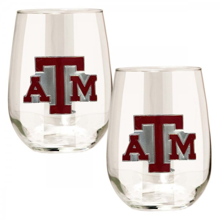 Texas A&M Aggies NCAA 2 Piece Stemless Wine Glass Set (Clear)