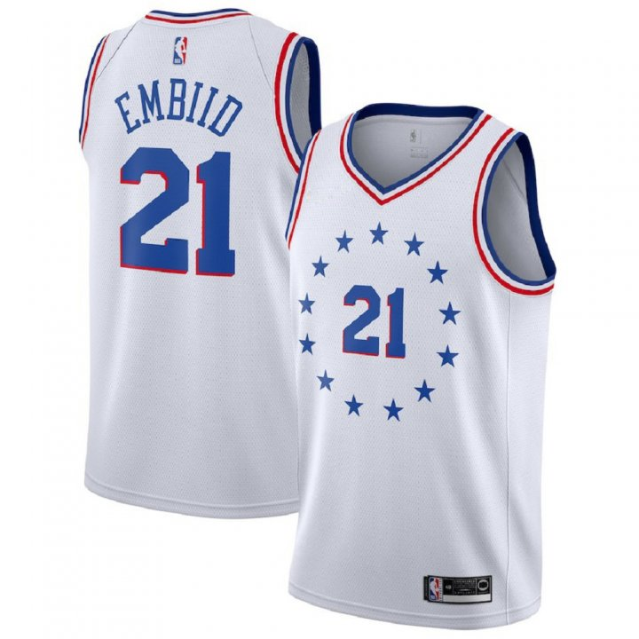 Majestic Athletic Joel Embiid #21 Philadelphia 76ers 2018-19 Swingman Men's White Jersey