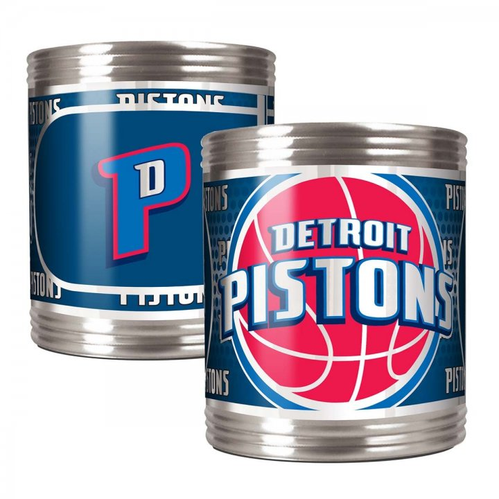 Detroit Pistons NBA 2 Piece Stainless Steel Can Holder Set with Metallic Graphics (Silver)