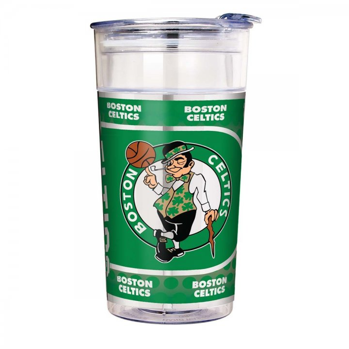 Boston Celtics NBA Boston Celtics 22 oz Double Wall Acrylic Party Cup with Metallic Graphics (Clear)
