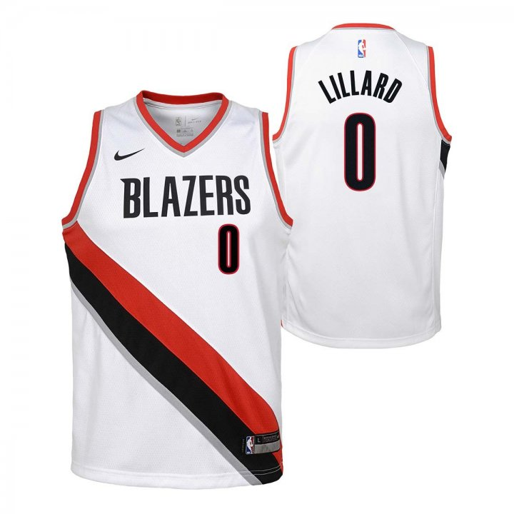 Portland Trail Blazers NBA Damian Lillard Youth Association Swingman Jersey (White)