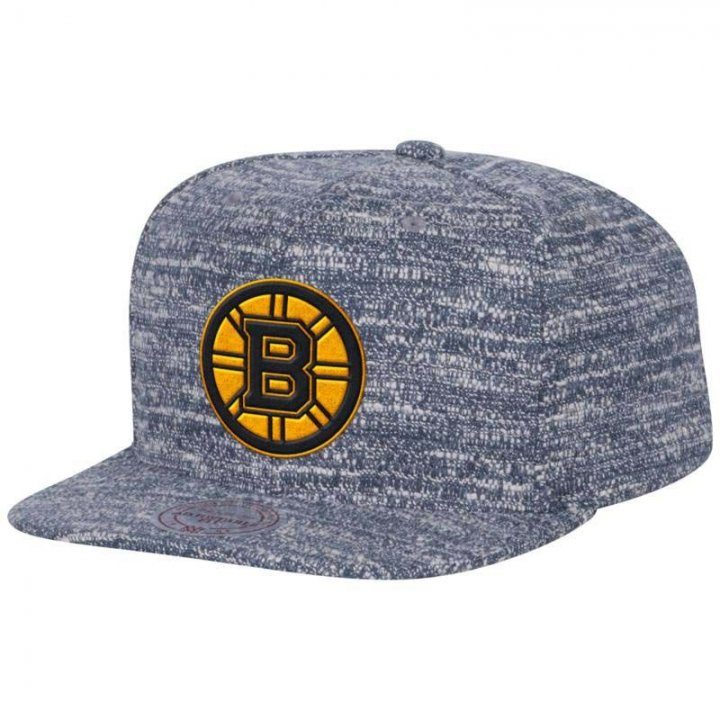Mitchell & Ness Boston Bruins Grey Noise Snapback Hat (Gray)