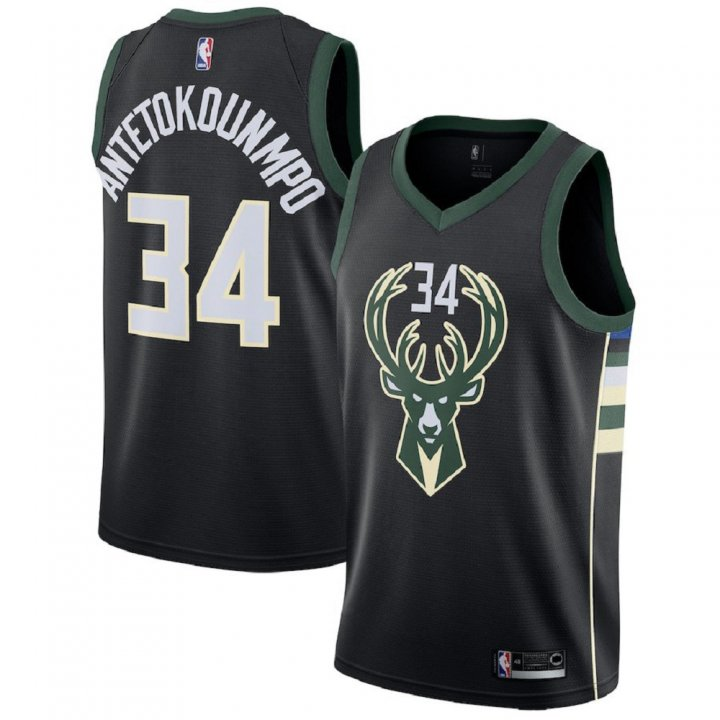 Majestic Athletic Men's Milwaukee Bucks #34 Giannis Antetokounmpo Black Swingman Jersey