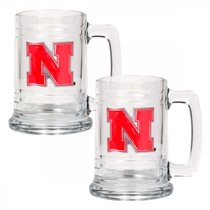 Nebraska Cornhuskers NCAA 2Pc Glass Tankard Set (Clear)