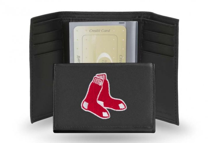 Boston Red Sox MLB Leather Trifold Wallet (Black)