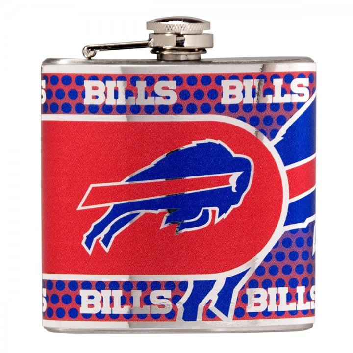 Buffalo Bills 6 oz Stainless Steel Hip Flask with Metallic Graphics (Silver)