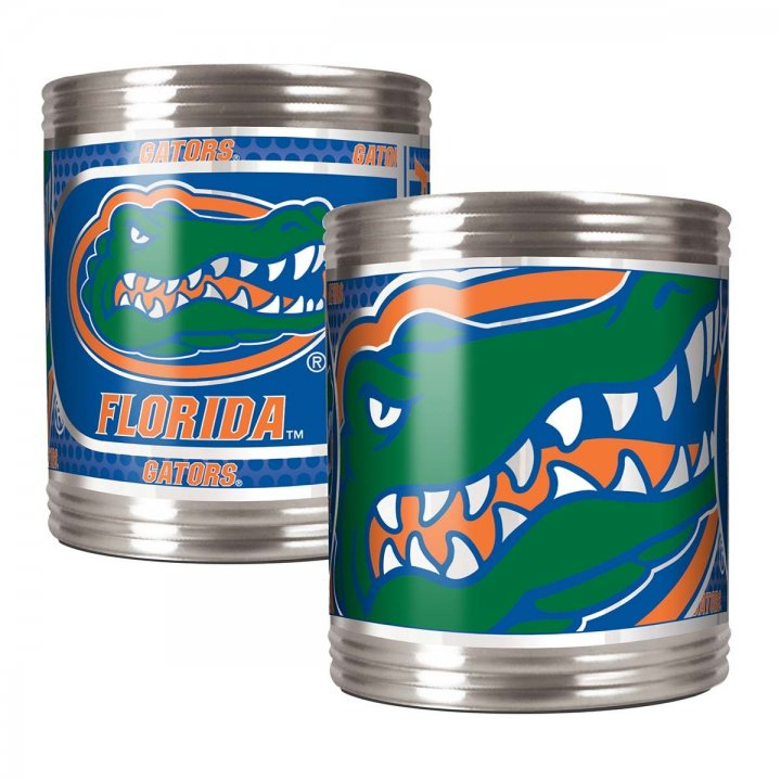 Florida Gators Florida Gators 2 Piece Stainless Steel Can Holder Set with Metallic Graphics