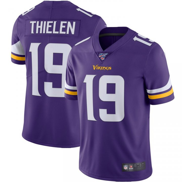 Franklin Sports Men's Adam Thielen #19 Minnesota Vikings NFL 100 Vapor Limited Jersey - Purple