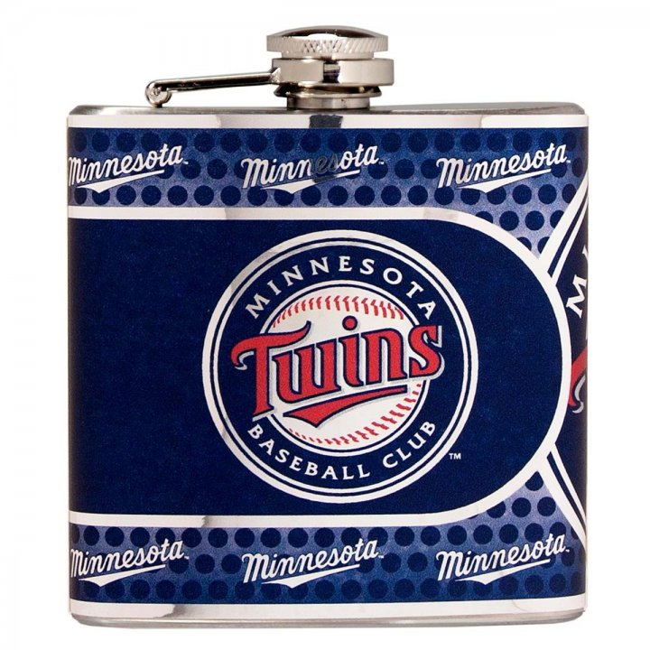 Minnesota Twins 6 oz Stainless Steel Hip Flask with Metallic Graphics (Silver)