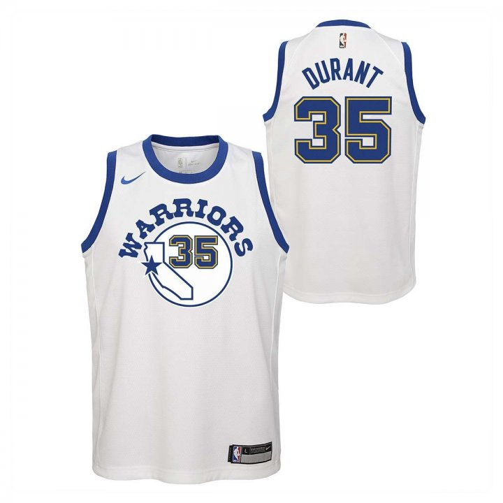 Golden State Warriors NBA Kevin Durant Youth Hardwood Classic Nights Swingman Jersey (White)