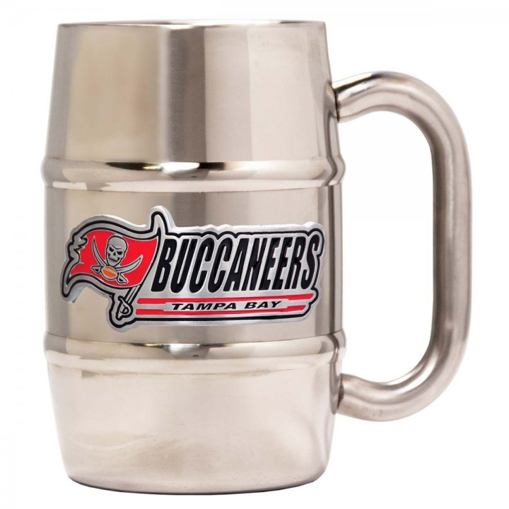 Tampa Bay Buccaneers 16 oz Double Wall Stainless Steel Mug (Silver)