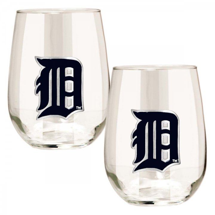 Detroit Tigers MLB 2 Piece Stemless Wine Glass Set (Clear)