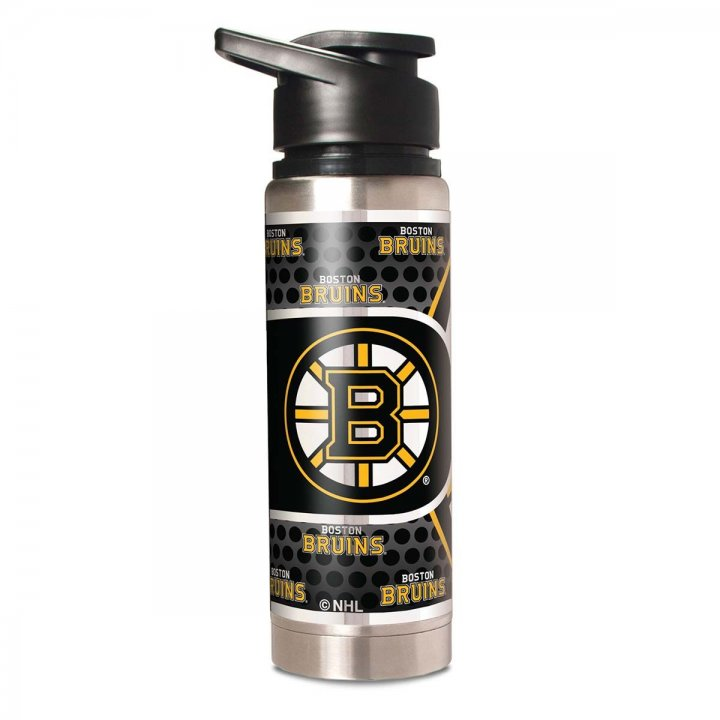 Boston Bruins NHL 20 oz Double Wall Stainless Steel Water Bottle with Metallic Graphics (Silver)