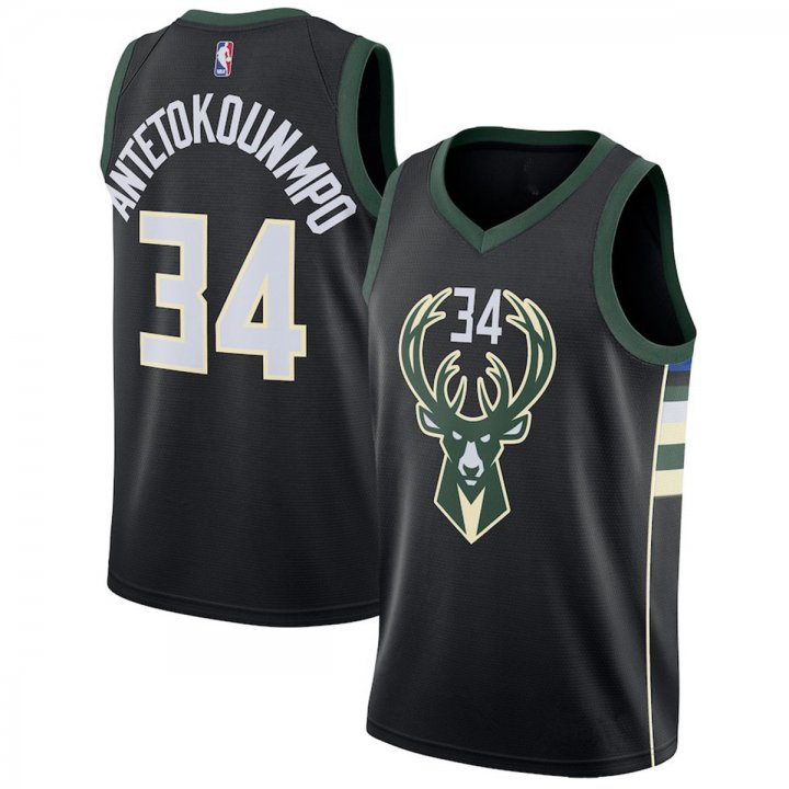 Franklin Sports Mens #34 Giannis Antetokounmpo Milwaukee Bucks Swingman Jersey Black