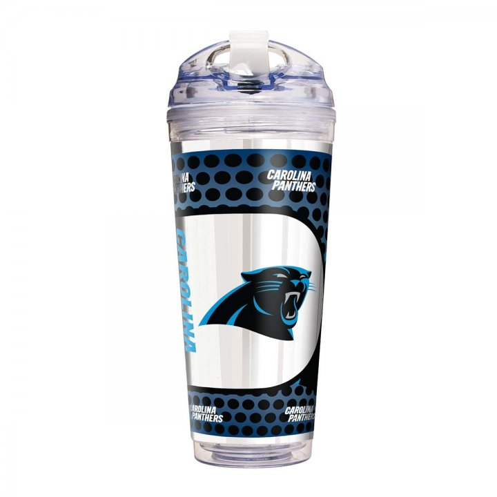 Carolina Panthers 24 oz Double Wall Acrylic Travel Tumbler with Metallic Graphics (Clear)