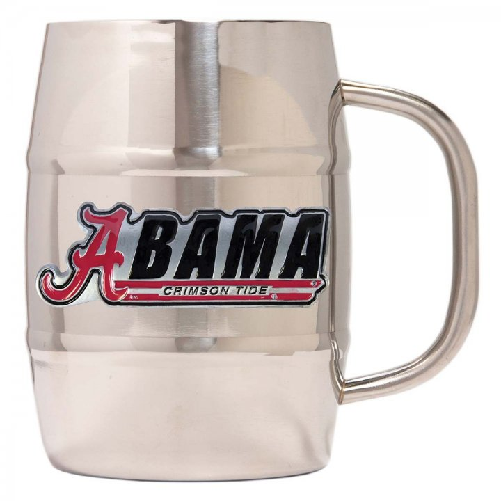 Alabama Crimson Tide NCAA 32 oz Double Wall Stainless Steel Mug (Silver)