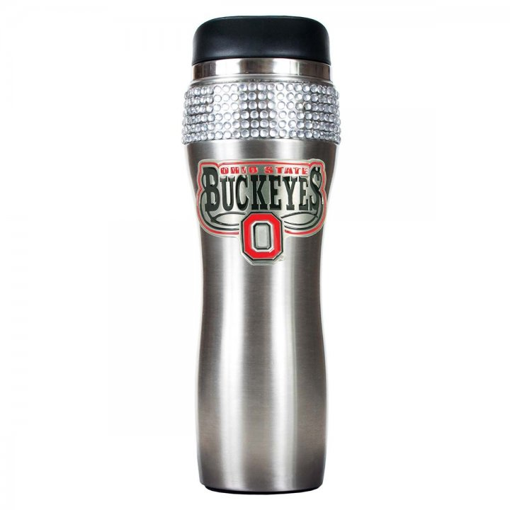 Ohio State Buckeyes NCAA Ohio State Buckeyes Stainless Steel Bling Travel Tumbler (Silver)