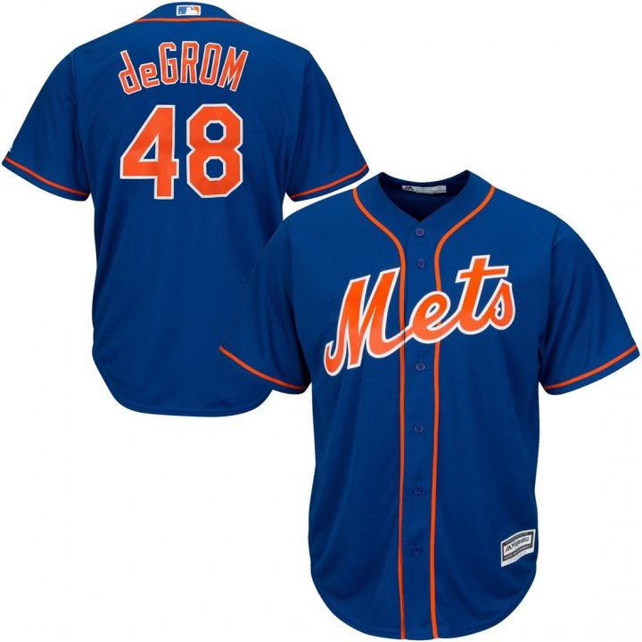 Outerstuff Youth Kids New York Mets 48 Jacob deGrom Base Player Jersey Baseball Royal Blue