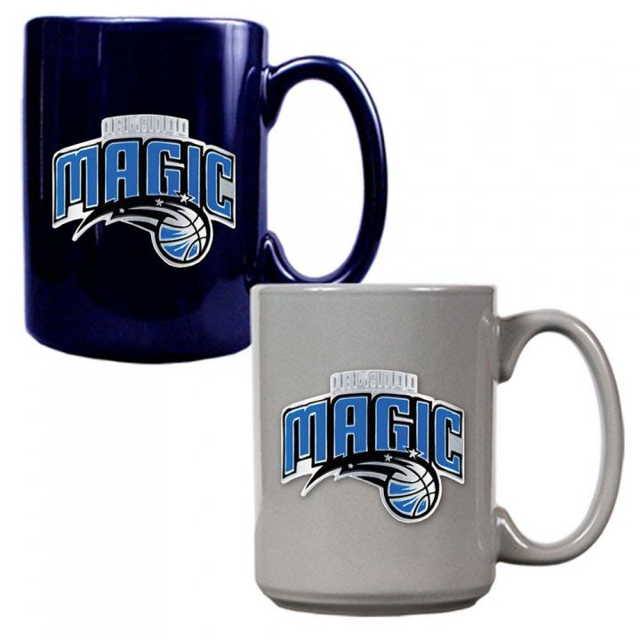 Orlando Magic NBA 2 Piece Color Coffee Mug Set (Blue/Grey)