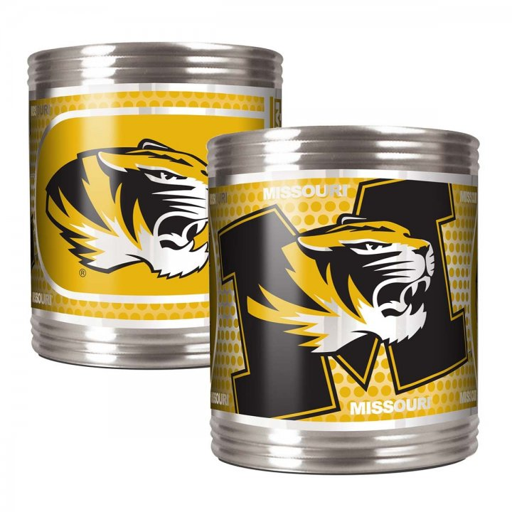 Missouri Tigers NCAA 2 Piece Stainless Steel Can Holder Set with Metallic Graphics (Silver)