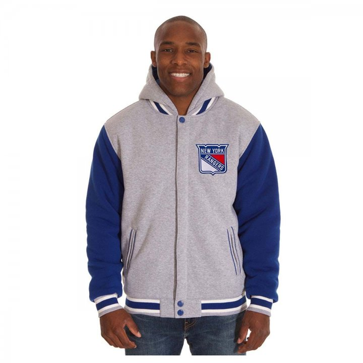 New York Rangers Patch Program Reversible Fleece Hooded Button Snap Jacket (Royal)