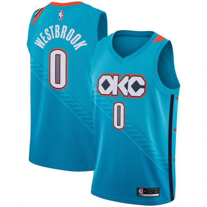 Outerstuff Youth 8-20 Russell Westbrook Oklahoma City Thunder Jersey -City Edition Turquoise
