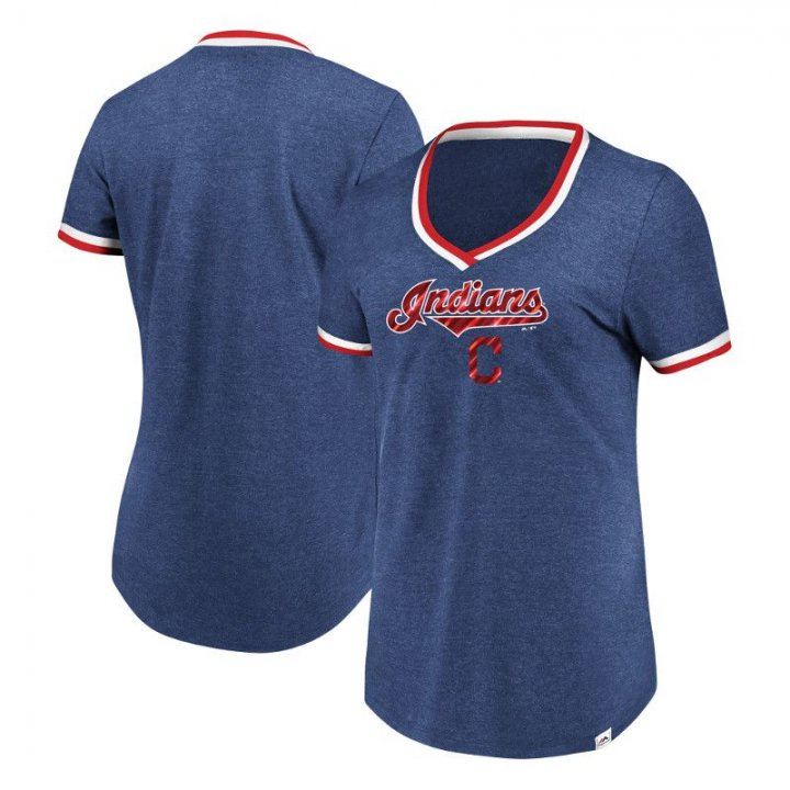 Cleveland Indians MLB Womens Driven By Results T-Shirt (Navy)