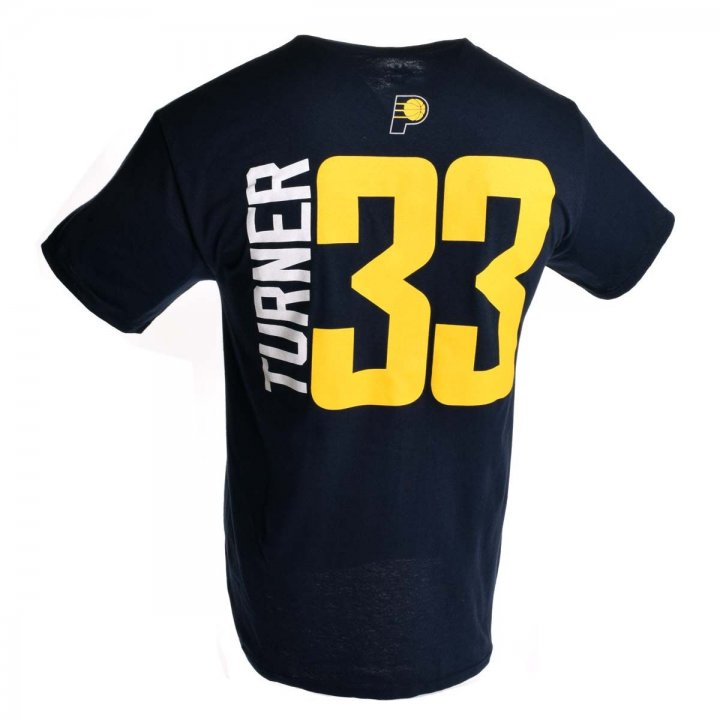 Indiana Pacers NBA Miles Turner Vertical Name & Number T-Shirt (Navy)