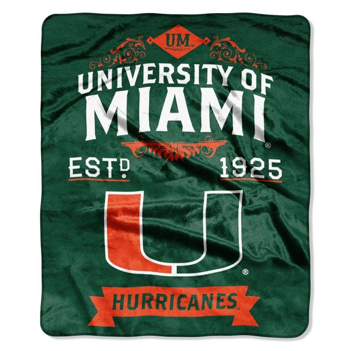 Miami Hurricanes Label Raschel Blanket
