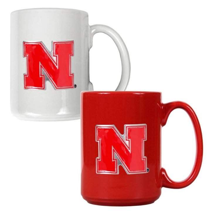Nebraska Cornhuskers NCAA 2 Piece Color Coffee Mug Set (White/Red)