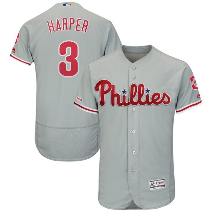 Franklin Sports Bryce Harper #3 Philadelphia Phillies Away Flex Base Authentic Collection Player Jersey Gray