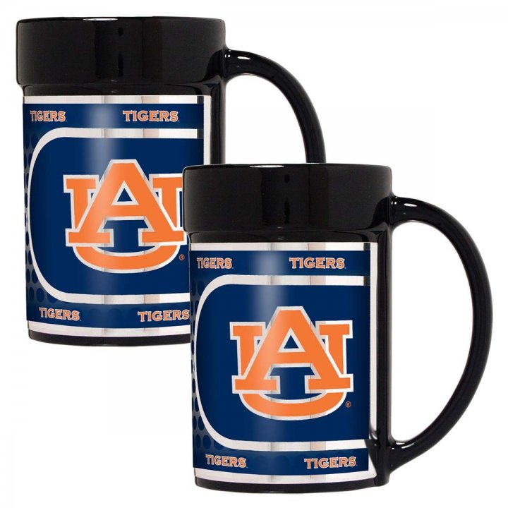 Auburn Tigers NCAA 2 Piece Coffee Mug Set with Metallic Graphics (Black)