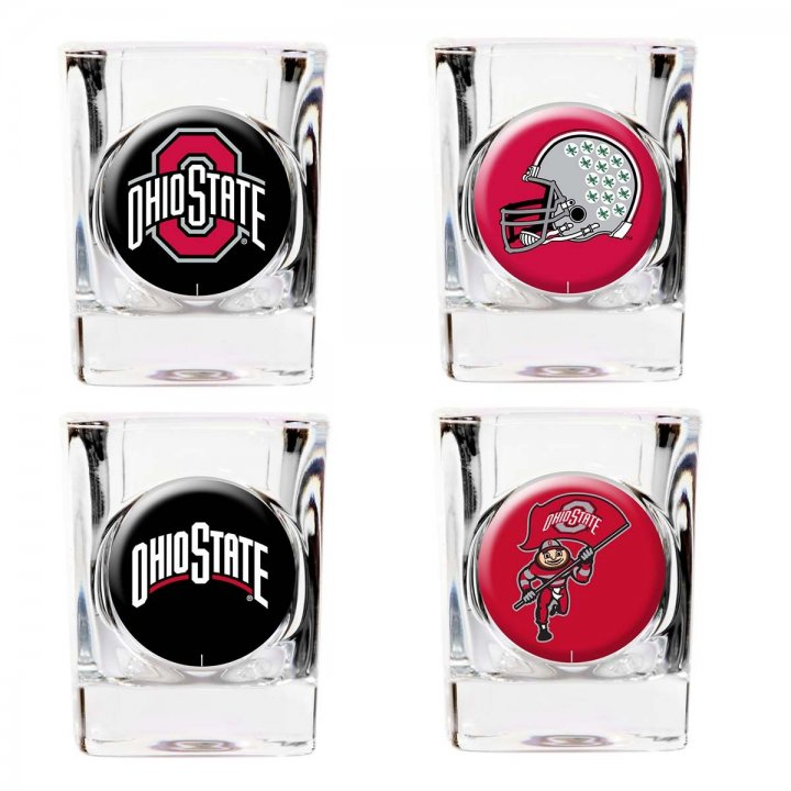 Ohio State Buckeyes NCAA 4 Piece Collector's Shot Glass Set (Clear)