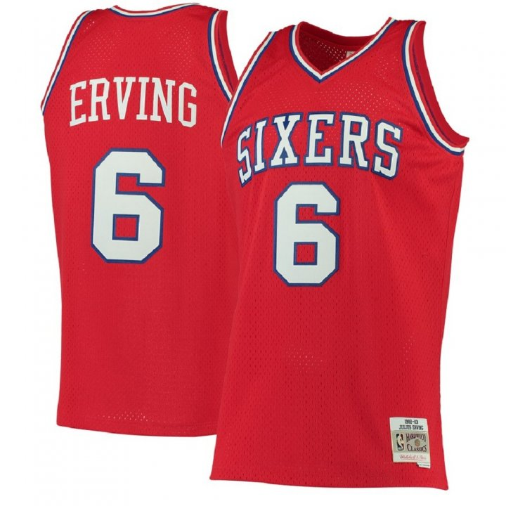 Franklin Sports Julius Erving Philadelphia 76ers #6 1982-83 Red Hardwood Classics Swingman Jersey